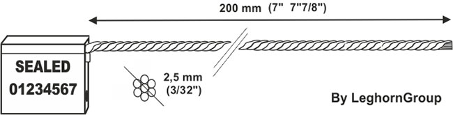 cable seal 2.5×200 mm technical drawing