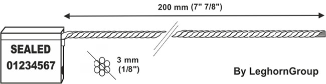 cable seal 3×200 mm technical drawing