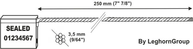 cable seal 3.5×250 mm technical drawing