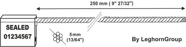 cable seal 5×250 mm technical drawing