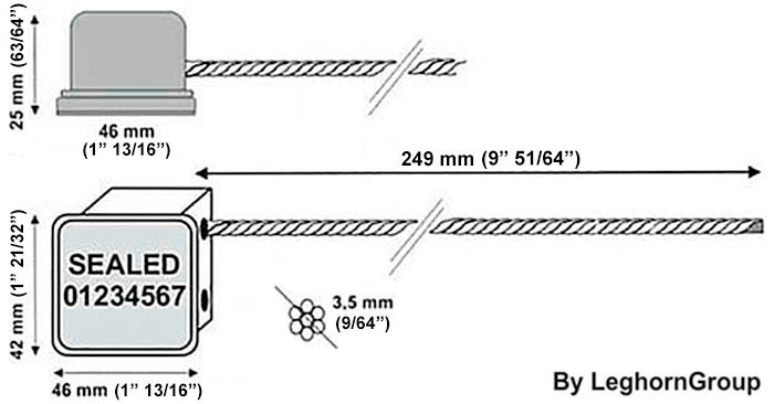 cable seal rfid minicable technical drawing