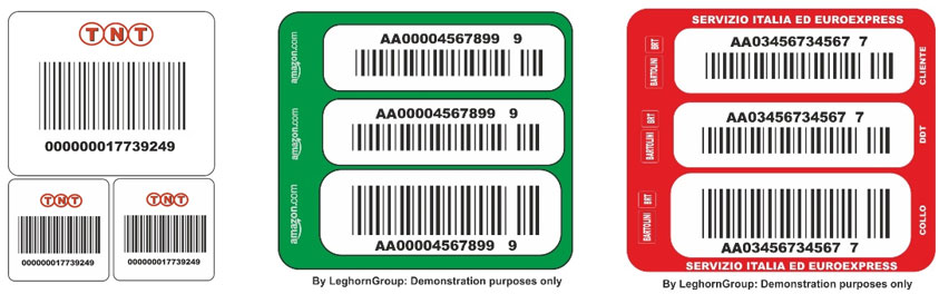 courier bar code labels