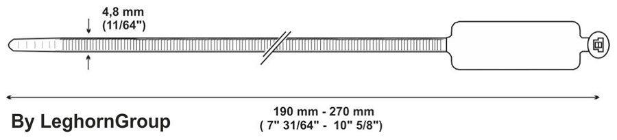 identification cable ties plastic technical drawing