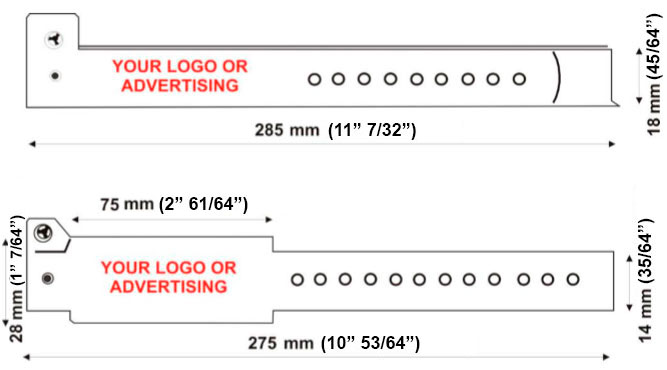 identification vinyl wristbands technical drawing