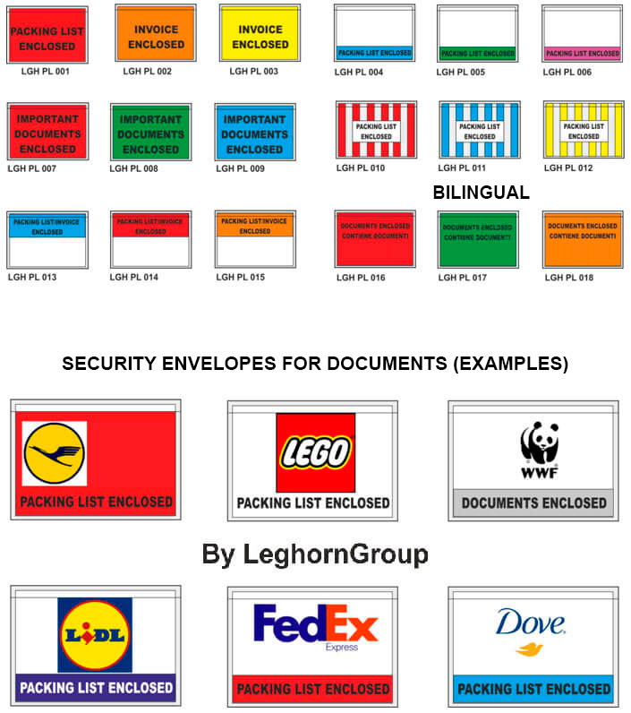 packing list security envelopes colours customizations