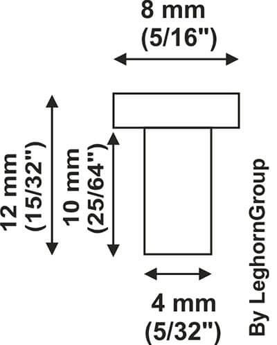plastic rivets technical drawing