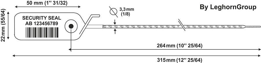 plastic seal adjustseal 3.3×315 mm technical drawing