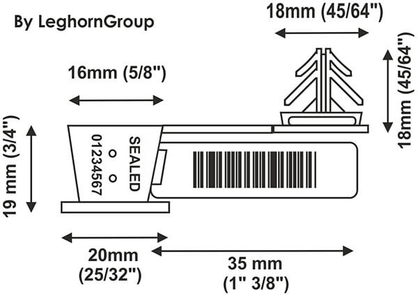plastic seal anchorflag technical drawing
