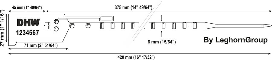 plastic seal bagseal 6×420 mm technical drawing