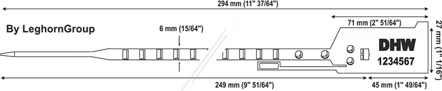 plastic seal easytight 6×294 mm technical drawing