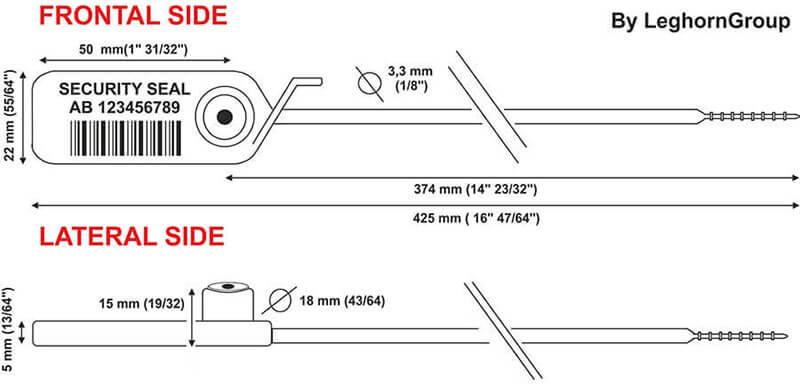 plastic seal jupiter 3.3×425 mm technical drawing