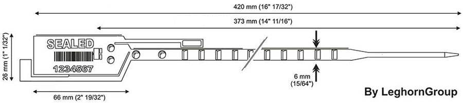 plastic seal long seal 6×420 mm technical drawing