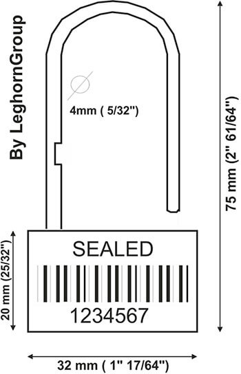 security seal padlockseal 160-4 technical drawing