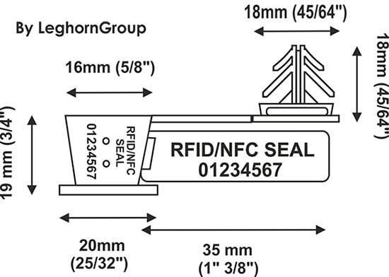 wire plastic seal rfid anchorflag technical drawing