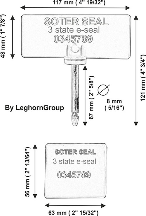 bolt lock rfid three states soter seal technical drawing
